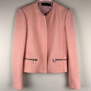 Zara pink tweed jacket with zippers, worn once!